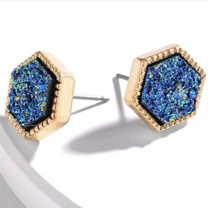 Jewelry - Blue Iridescent Hexagon Druzy Stud Earrings